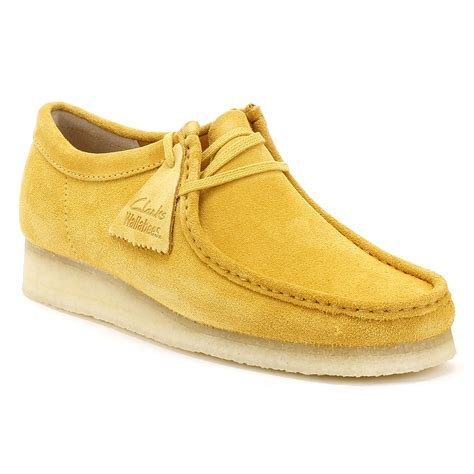 wallabees shoes clarks originals mens wallabee shoes ocher suede yellow