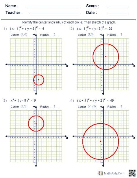 Equations Of Circles Worksheet by Geometry Worksheets Circle Worksheets