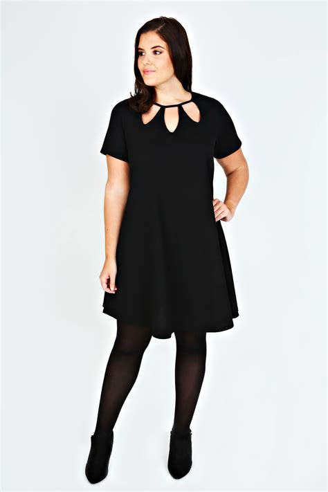 size 16 swing dress black cut out textured swing dress plus size 14 16 18 20
