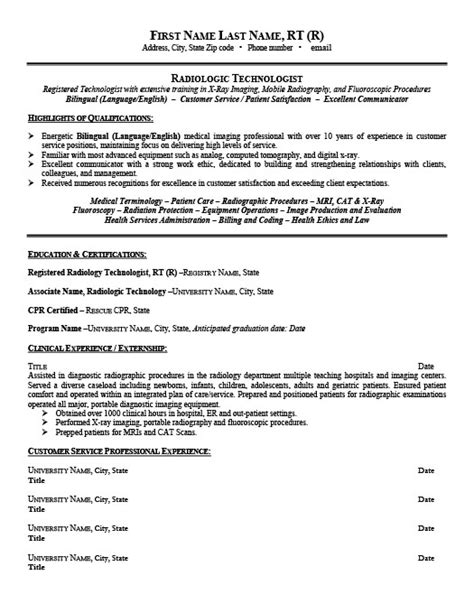 Radiology Resume by Radiologic Technologist Resume Template Premium Resume Sles Exle