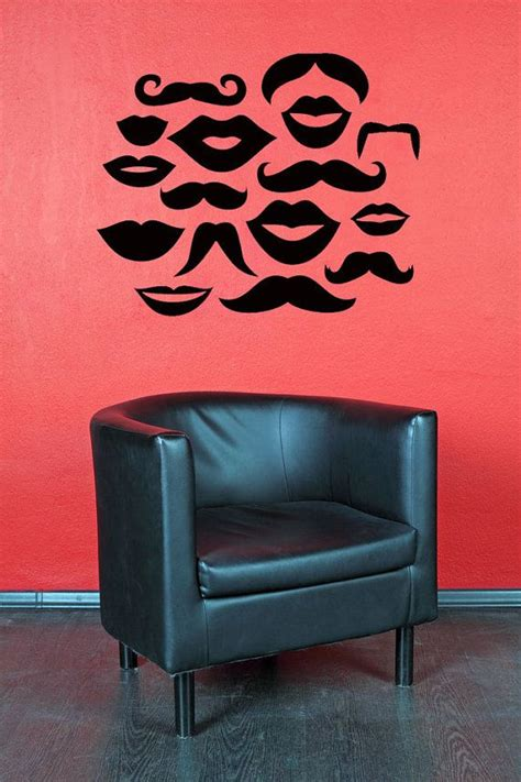 mustache wall lip decal mustaches kisses