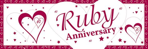 Ruby Wedding Banner by 40th Wedding Anniversary Supplies Delights