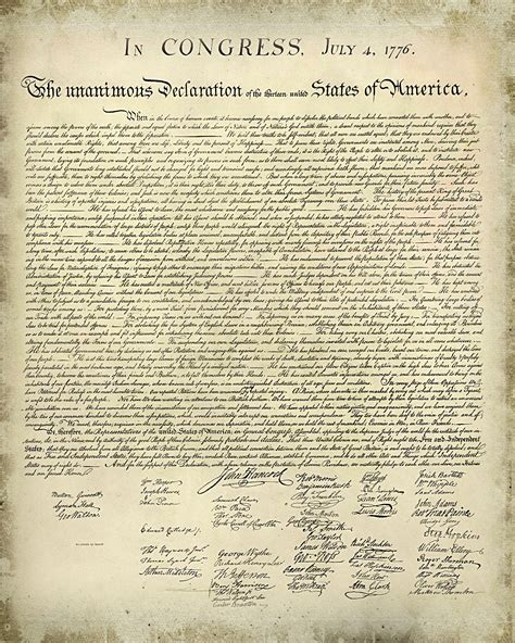 printable original us constitution declaration of independence printable version free