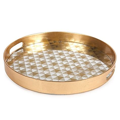 decorative serving trays buy decorative 13 inch glass serving tray in gold
