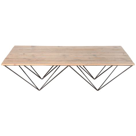 Metal Wood Coffee Table Geometric Metal And Wood Coffee Table At 1stdibs