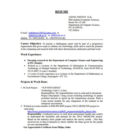 Sle Of Resume For Computer Engineer As Fresher Resume Template For Fresher 10 Free Word Excel Pdf Format Free Premium Templates