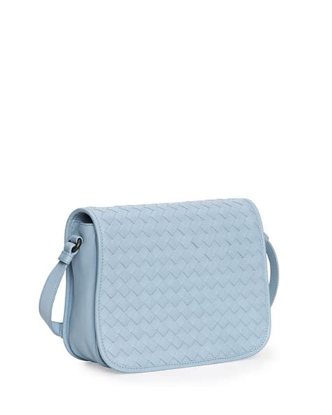 light blue crossbody bag bottega veneta small woven flap crossbody bag light blue