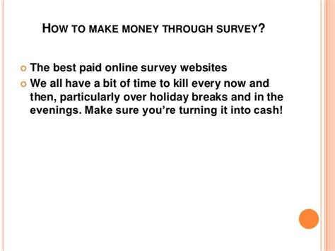 Money Through Surveys - how to make money through survey