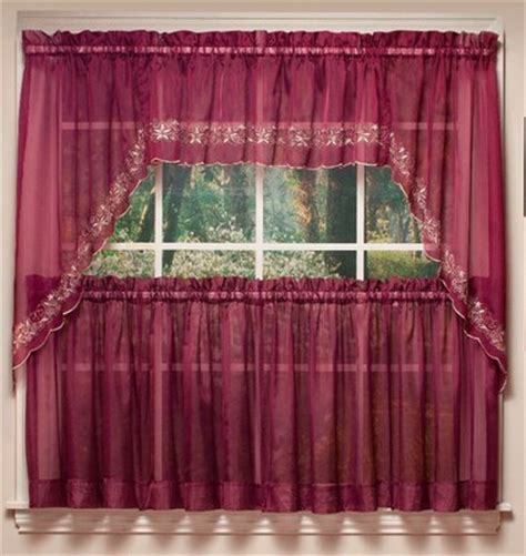 emelia embroidered sheer kitchen curtain available in 8 colors linens4less