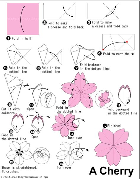 Origami Flowers Diagrams - flower origami cherry flower paper origami guide
