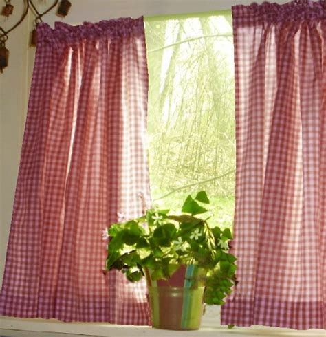 gingham curtains red red gingham kitchen caf 233 curtain unlined or with white or