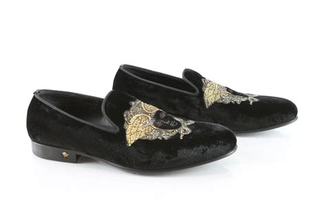 versace loafers for versace velvet loafers gold medusa embroidery black size