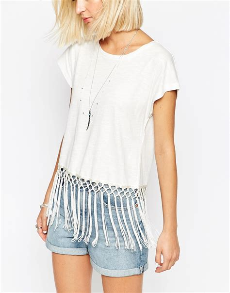 Fringes Shirt vero moda t shirt with fringe hem in white snowwhite lyst