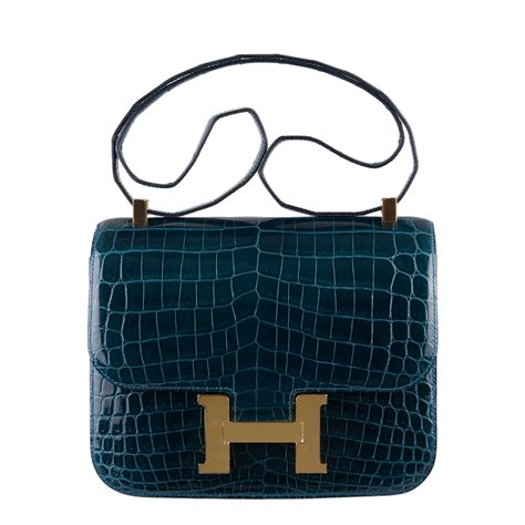 An It Bag by Hermes Constance Bag 24cm Colvert Crocodile Gold Hardware