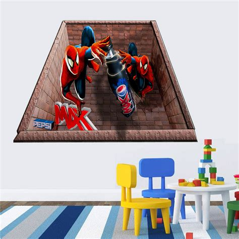 Murah 3d Wall L Decoration Spyder spider 3d wall stickers for rooms decoration boys wall decals superman vinly