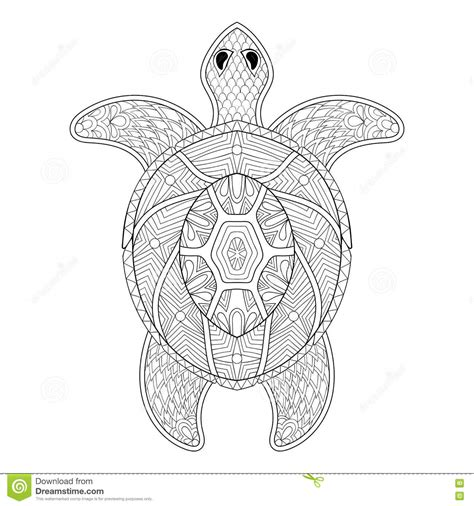 marvelous sea turtles coloring book for adults stress relief coloring book for grown ups books turtle in zentangle style freehand sketch for