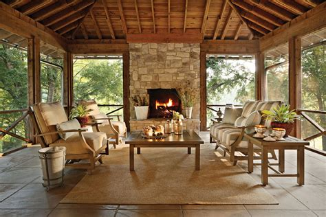 patio decor two sided fireplace warms spacious interior effortless