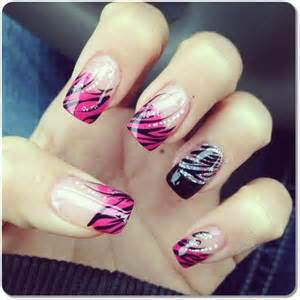 pink and black streaky nail design