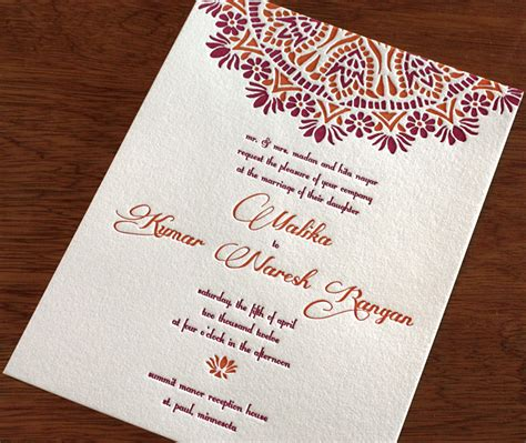 indian wedding invites indian letterpress wedding card malika invitations by