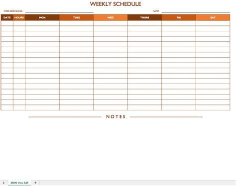 weekly schedule template noshot info