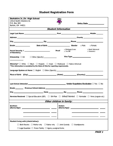 enrollment form format