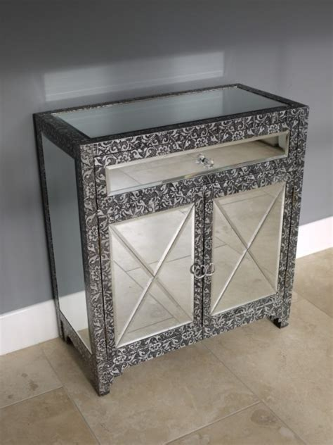 Small Mirrored Sideboard blackened silver embossed mirrored small sideboard free