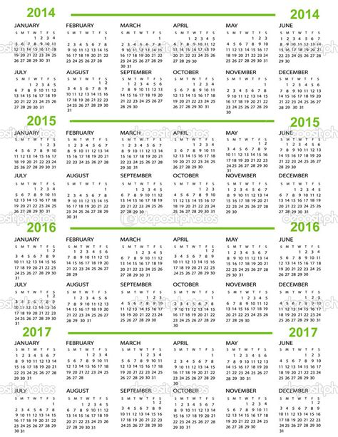 2014 And 2015 Calendar Printable 7 Best Images Of Printable 5 Year Calendar 2015 2016 2017