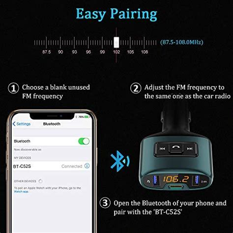 bovon transmetteur fm bluetooth 201 metteur fm kit de voiture sans fil 18w type c port de charge