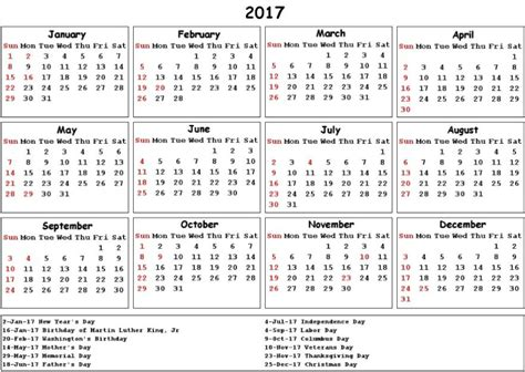 Calendar 2017 Excel With Holidays India Federal Holidays 2017 Calendar With Holidays Calendar