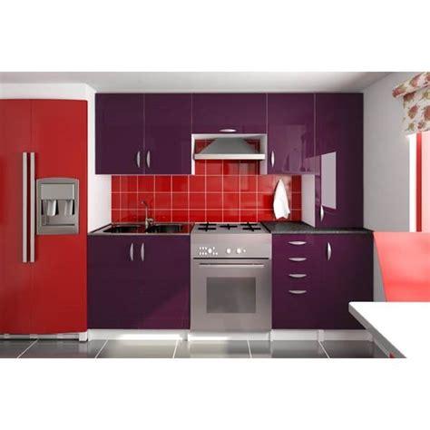 cuisine et d駱endance complet cuisine compl 232 te 220 cm oxane aubergine laqu 233 achat