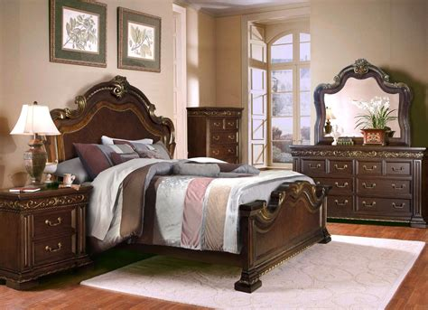 Brown King Bedroom Set antique style 4 pc california king bedroom set