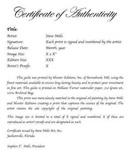 photography certificate of authenticity template sle certificate of authenticity template 29