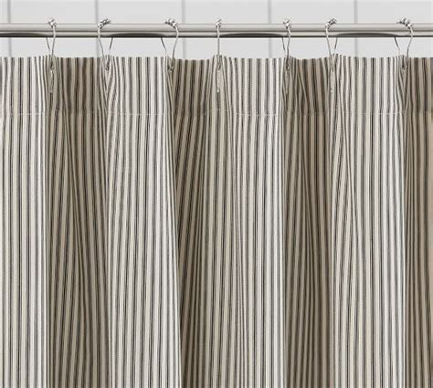 pottery barn striped curtains ticking stripe ruffle shower curtain pottery barn