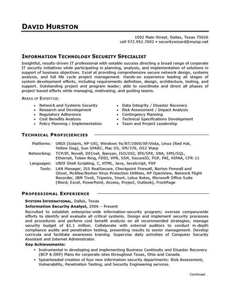 Resume Example   IT Security   CareerPerfect.com