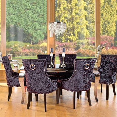 Dining Room Chairs With Knocker On Back Louis Black Glass And Steel 160cm Dining Table And 6