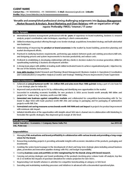 Resume Sles For Fmcg Sales Manager Sales Fmcg Resume