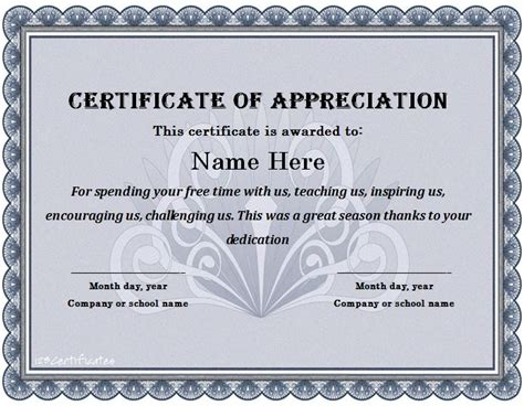 template of certificate of appreciation 31 free certificate of appreciation templates and letters