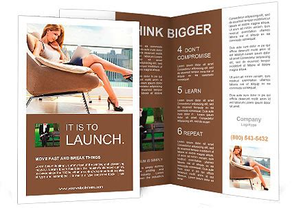 brochure templates laptop young woman sitting on chair with laptop brochure