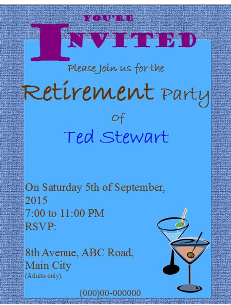 Retirement Party Flyer Templates Free Free Retirement Invitation Flyer Templates
