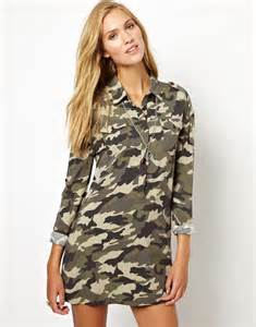 pepe jeans camo military shirt dress in green lyst