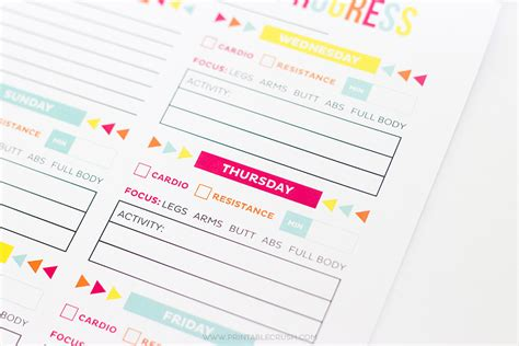 3 Free Printables To Help You Smash Your 2017 Goals Free Printable Workout Schedule Printable Crush