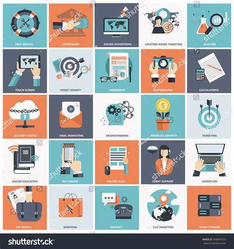 design analysis icon design services icon set set flat design icons business pay stock vector 548447335