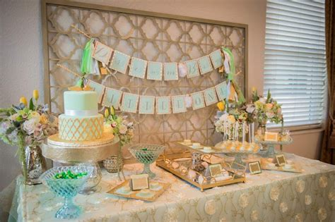 Elegant Dinner Party Menu by Elegant Mint And Gold Baptism Party The Celebration Society