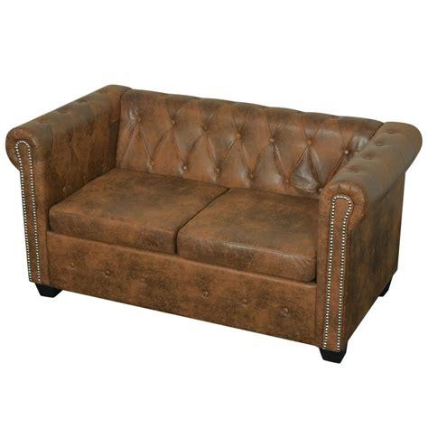 vidaxl chesterfield sofa 2 sitzer kunstleder braun g 252 nstig