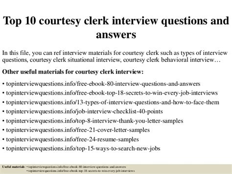top 10 courtesy clerk questions and answers