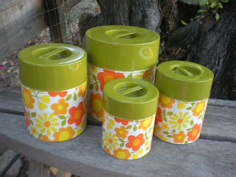 yellow kitchen canister set canister set vintage retro nesting tins green yellow orange kitchen storage orange kitchen and