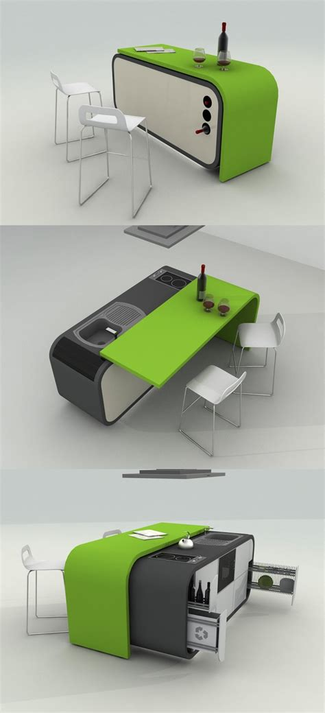 compact design green kitchens