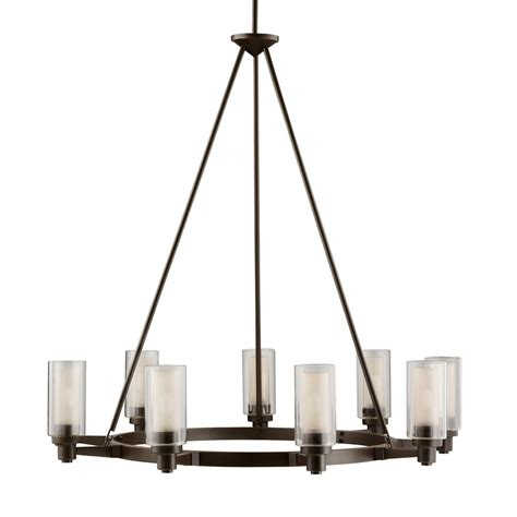Kichler Chandeliers Shop Kichler Circolo 36 In 9 Light Olde Bronze Clear Glass Shaded Chandelier At Lowes