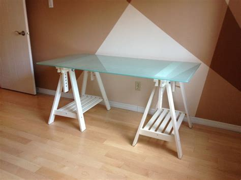 Ikea Glass Top Desk Ikea Glass Desk Top With Adjustable White Trestle Legs