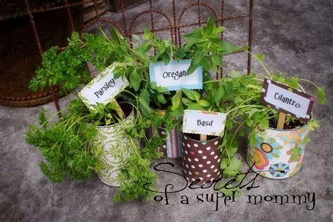 tin can garden secrets of a earth day herb garden